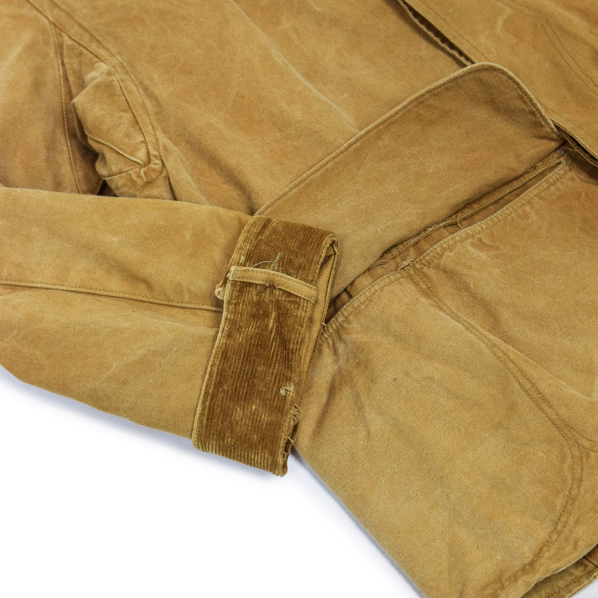 Vintage 1930s Mohawk Duxbak NY Hunting Tan Canvas Shooting Field Jacket S / M CORD CUFF
