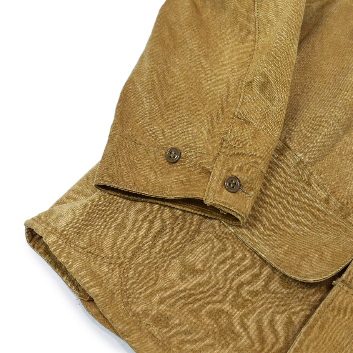 Vintage 1930s Mohawk Duxbak NY Hunting Tan Canvas Shooting Field Jacket S / M CUFF DETAIL