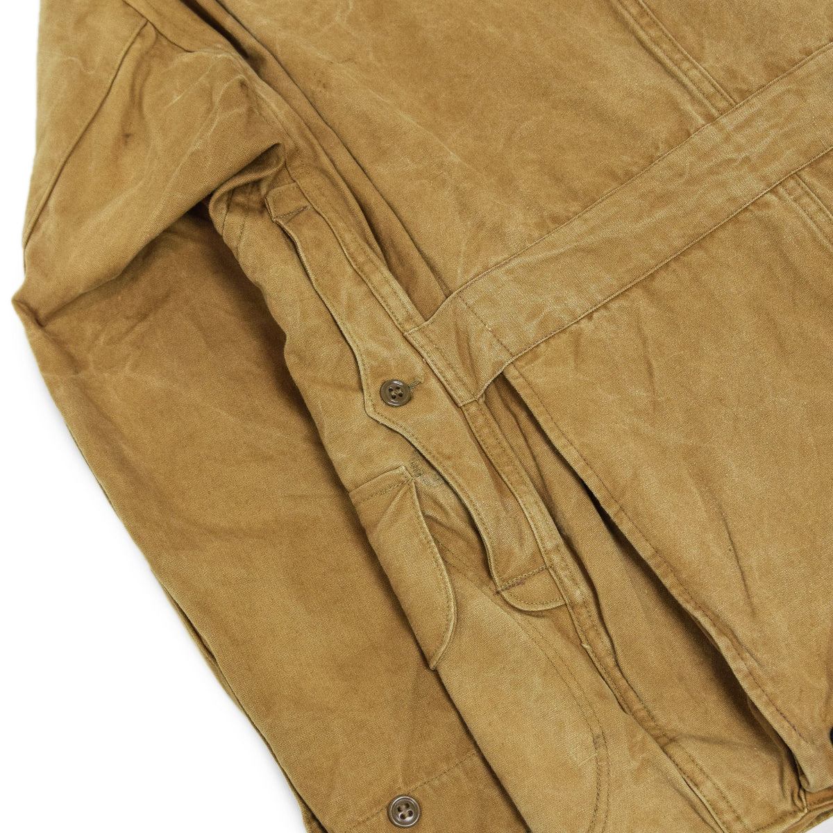 Vintage 1930s Mohawk Duxbak NY Hunting Tan Canvas Shooting Field Jacket S / M BACK HAME POUCH