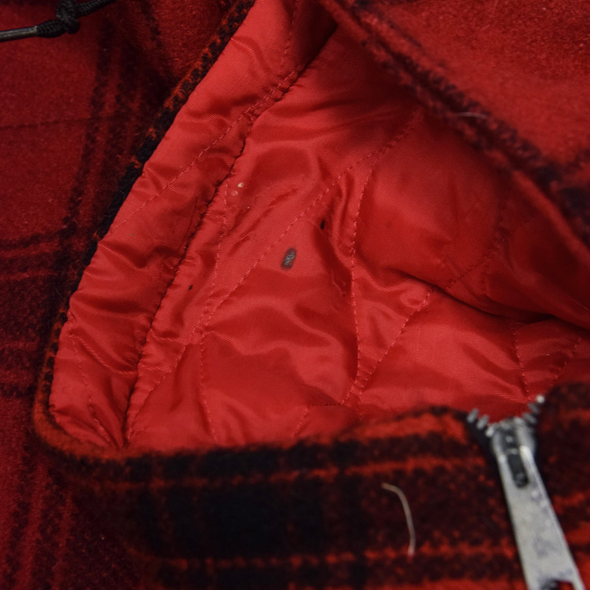 Vintage 40s 50s Penneys Foremost Wool Plaid Hunting Jacket L hood detail