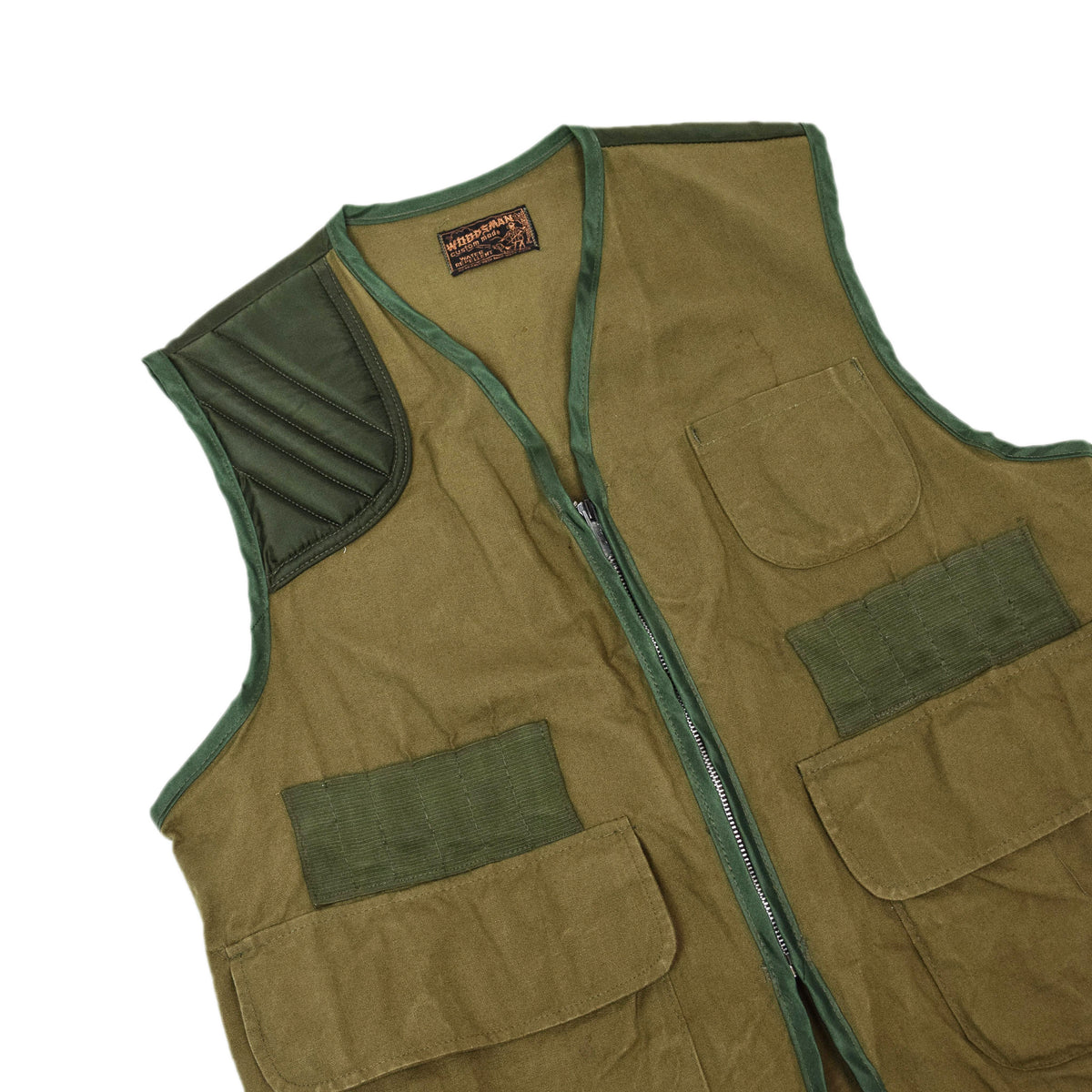 Vintage Woodsman Hunting Shooting Vest Waistcoat Green M / L chest