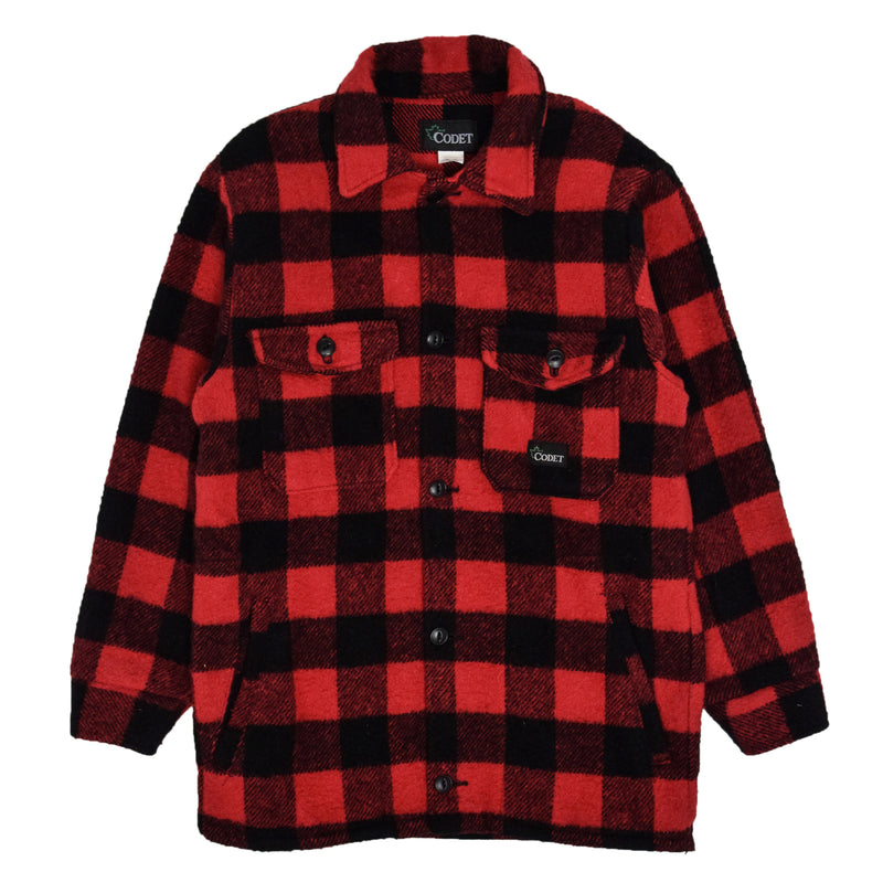 Vintage Codet Buffalo Plaid Hunting Mackinaw Shirt Jacket Made in Canada S front