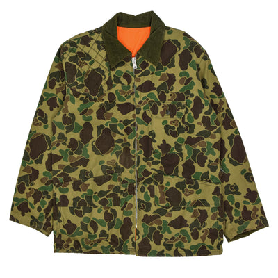 Vintage 70s Sears Reversible Duck Cotton Camo Cotton Hunting Jacket XL FRONT