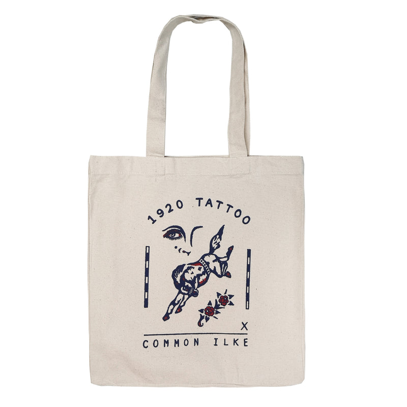 1920 Tattoo X COMMON ILKE VINTAGE Horse Print Cotton Canvas Tote Bag front