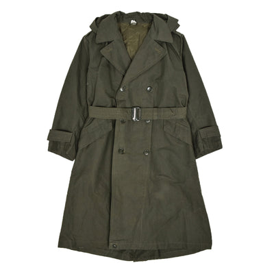 Deadstock 60s Hooded Double Breasted Japanese Military Raincoat Green S front