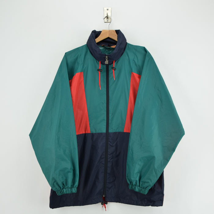 Vintage K-Way Windbreaker Blue Green Lightweight Packaway Festival Jacket L / XL front