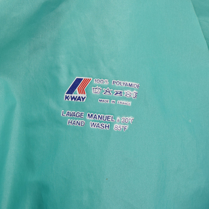 Vintage K-Way Windbreaker Blue Green Packaway Festival Jacket France Made M / L label print