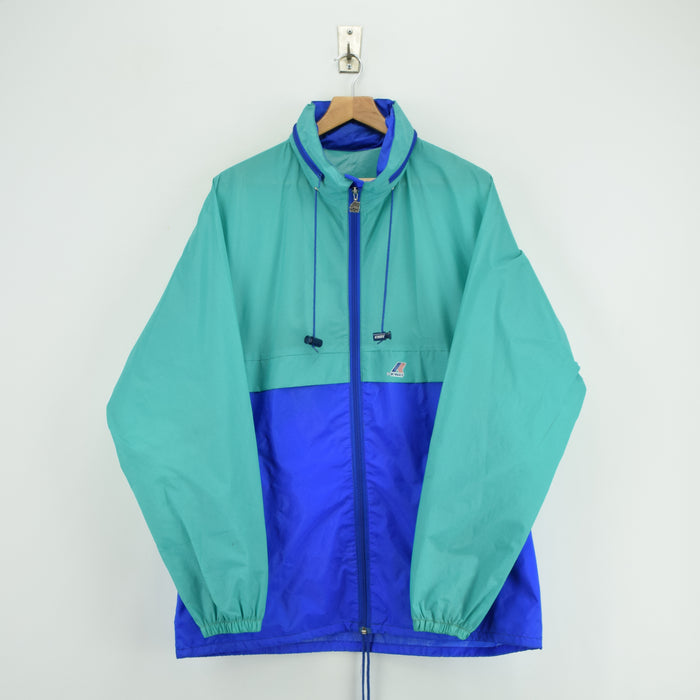 Vintage K-Way Windbreaker Blue Green Packaway Festival Jacket France Made M / L front