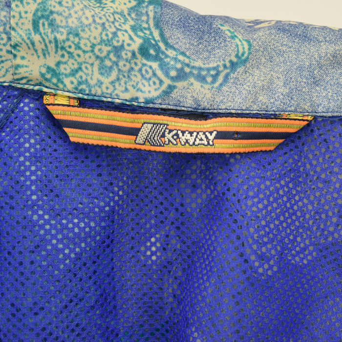 Vintage K-Way Windbreaker Blue Pattern Cagoule Festival Jacket Oversized S / M label