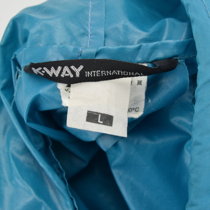 Vintage K-Way Windbreaker Green Pullover Lightweight Packaway Festival Jacket L label