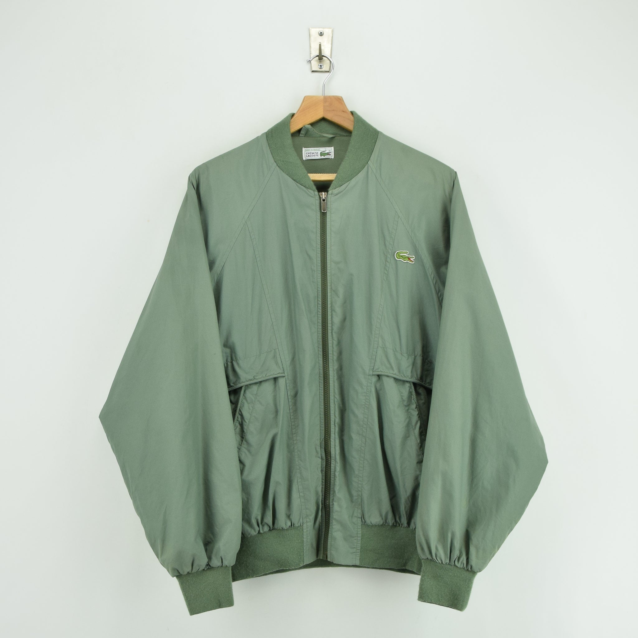 22369bb86ce7 Vintage Chemise Lacoste Green Bomber Jacket Made in France L   XL front ...