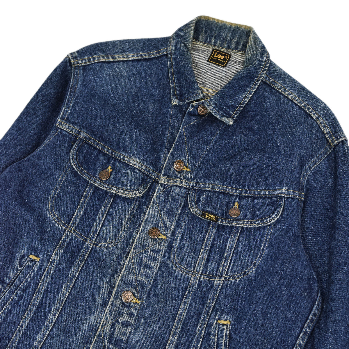 Vintage 70s Lee Washed Blue Denim Trucker Style Basic Jacket Made in USA M chest