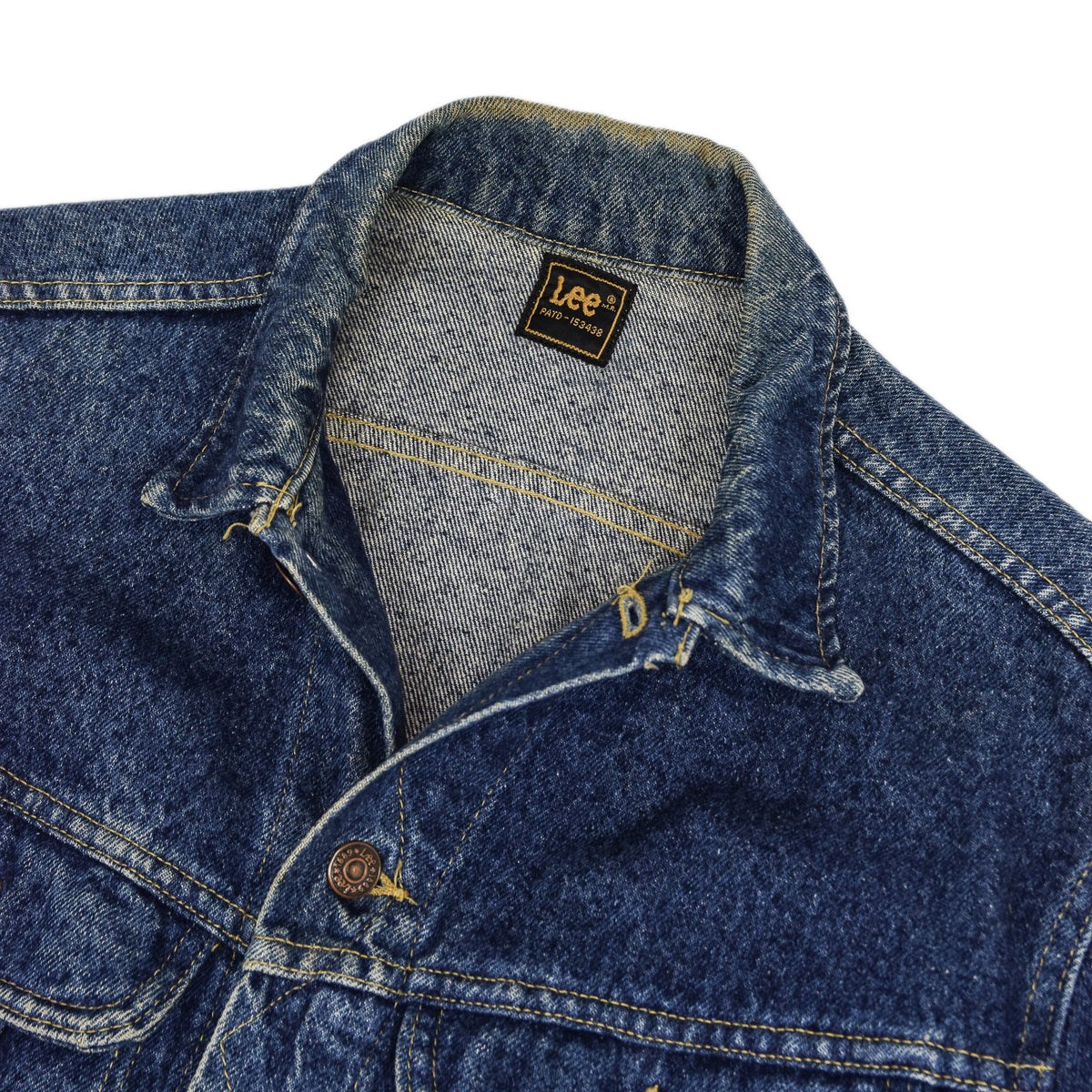 Vintage 70s Lee Washed Blue Denim Trucker Style Basic Jacket Made in USA M collar