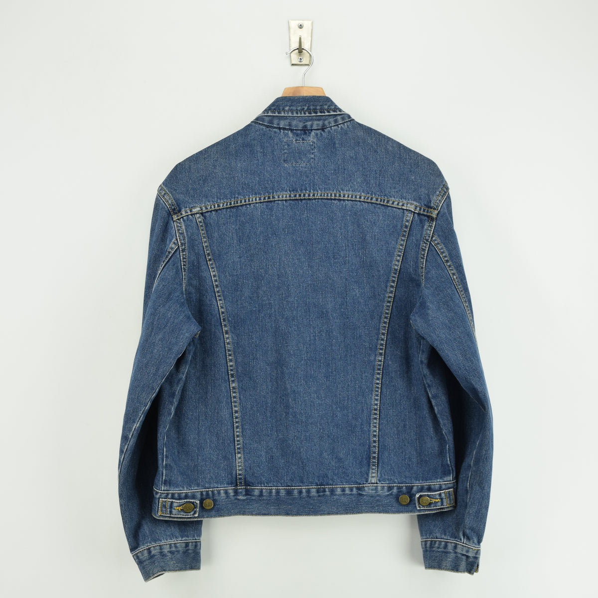 Vintage Lee Washed Blue Denim Trucker Style Basic Jacket L back