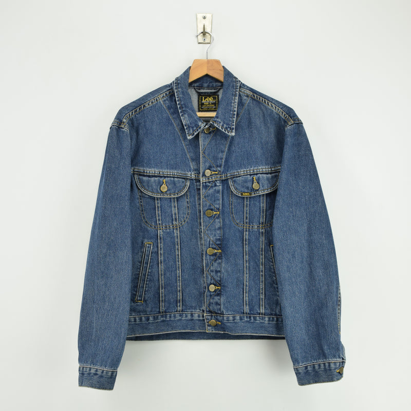 Vintage Lee Washed Blue Denim Trucker Style Basic Jacket L front
