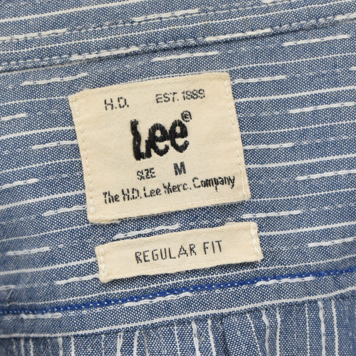 Vintage Lee Jeans Sanforized Blue Broken Stripe Cotton Shirt Regular Fit M Label