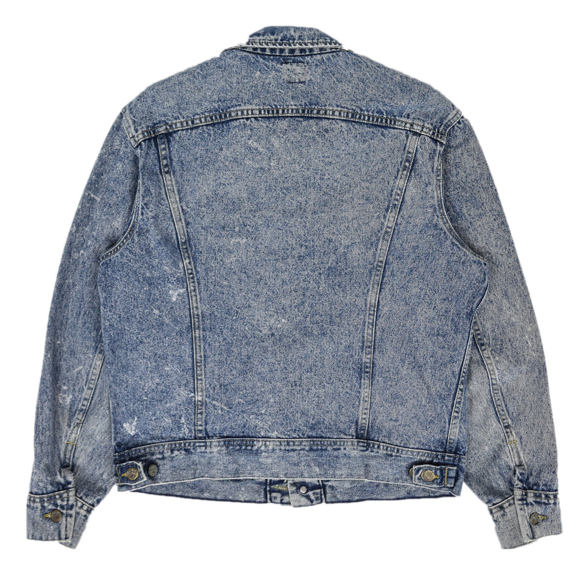 Vintage 70s Lee Riders Stonewash Blue Denim Trucker Style Jacket Made in USA M back