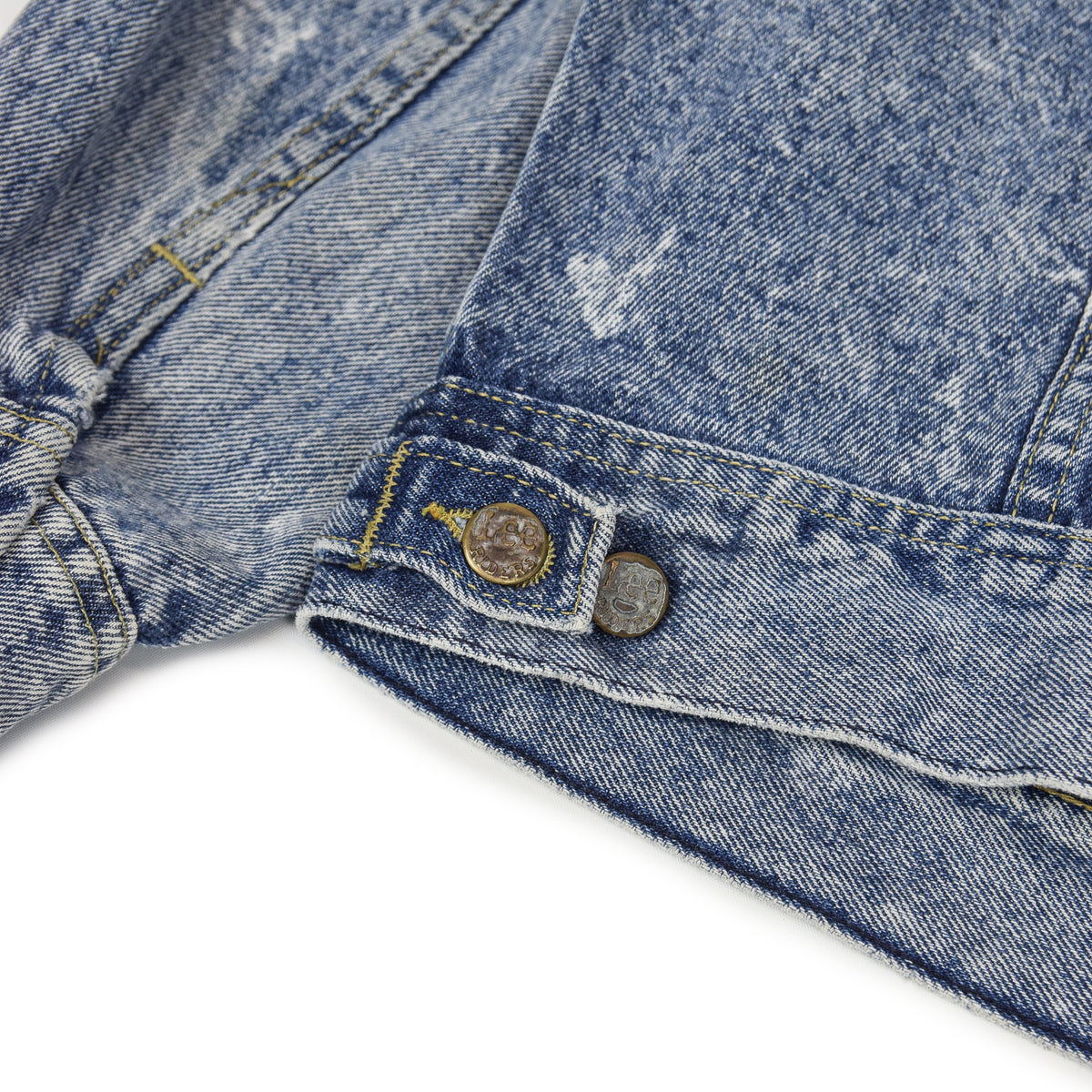Vintage 70s Lee Riders Stonewash Blue Denim Trucker Style Jacket Made in USA M back detail