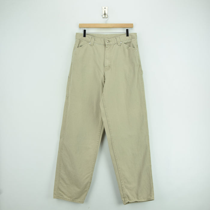 Vintage Lee Riveted Workwear Cotton Work Pants Trousers USA Made 36 W 30 L front