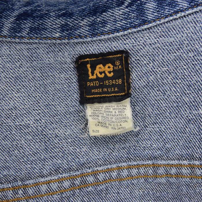 Vintage Lee Riders Acid Wash Blue Denim Trucker Style Jacket Made in USA M label