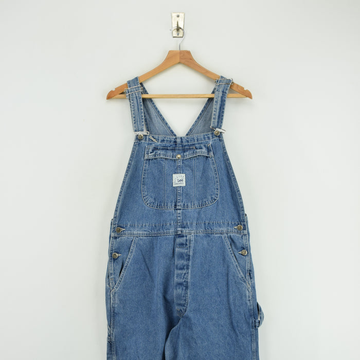 Vintage Lee Riveted Denim Workwear Dungarees Made in USA Overalls Trousers M FRONT