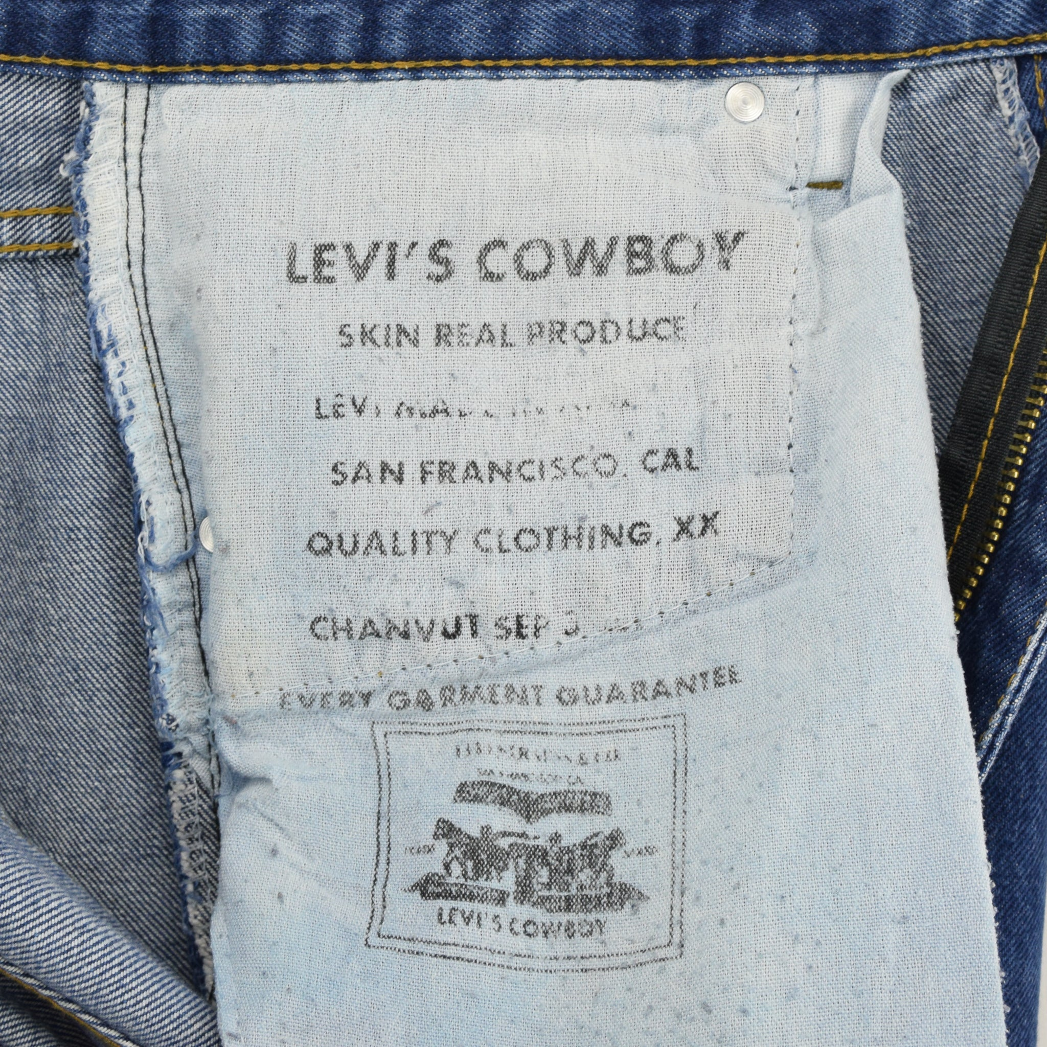 Vintage Levi Cowboy Red Tab Big E Stonewash Blue Denim Jeans Pant 34 W 26 L label