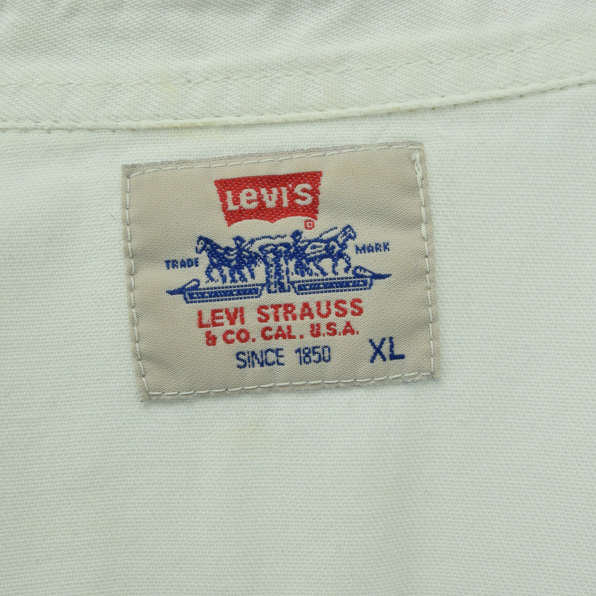 Vintage Levi's Red Tab Off White Cotton Western Cowboy Shirt XL label