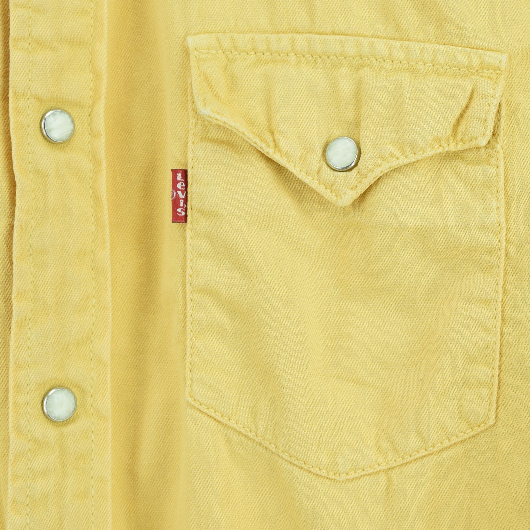 Vintage Levi Red Tab Washed Yellow Cotton Western Cowboy Shirt S chest pocket