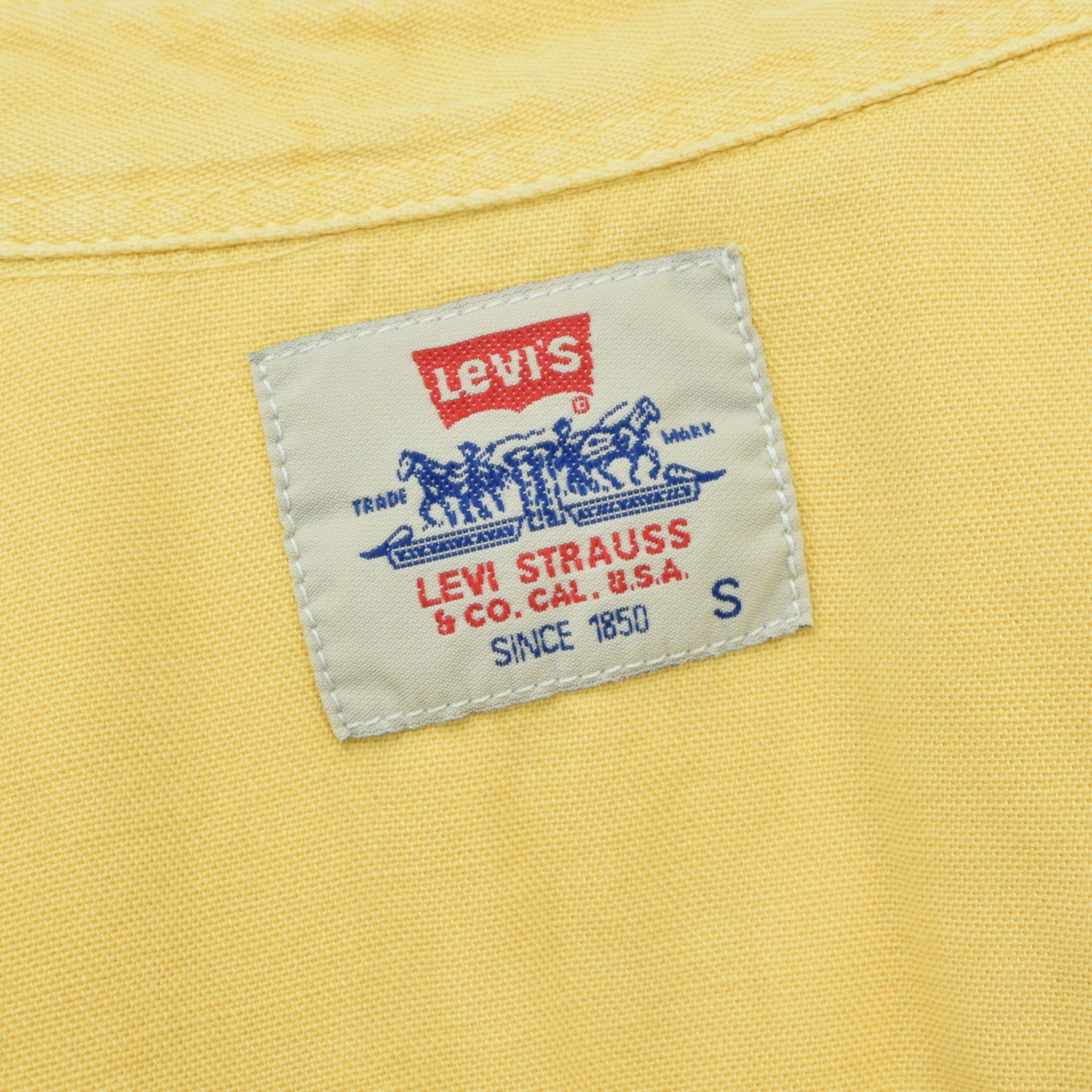 Vintage Levi Red Tab Washed Yellow Cotton Western Cowboy Shirt S label