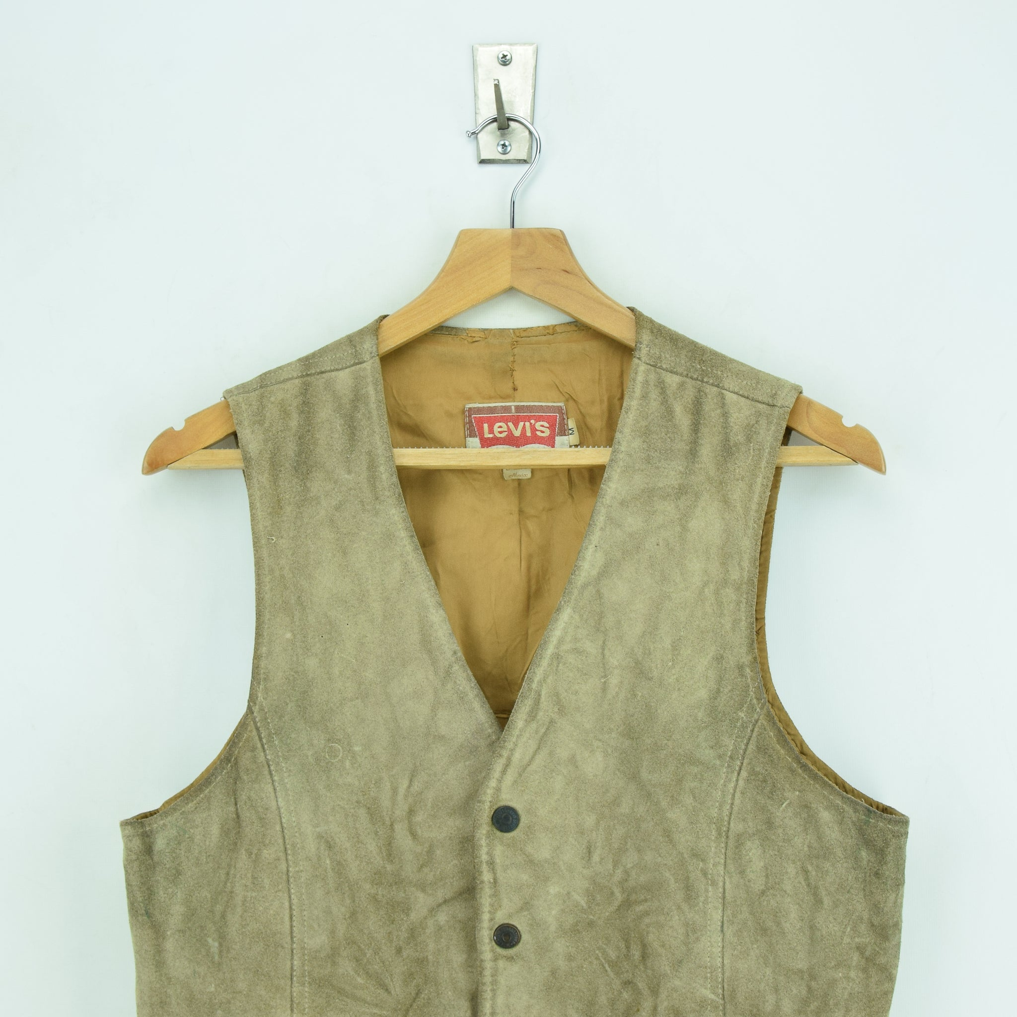Vintage Levi White Tab Suede Leather Western Rancher Cowboy Waistcoat Vest S chest
