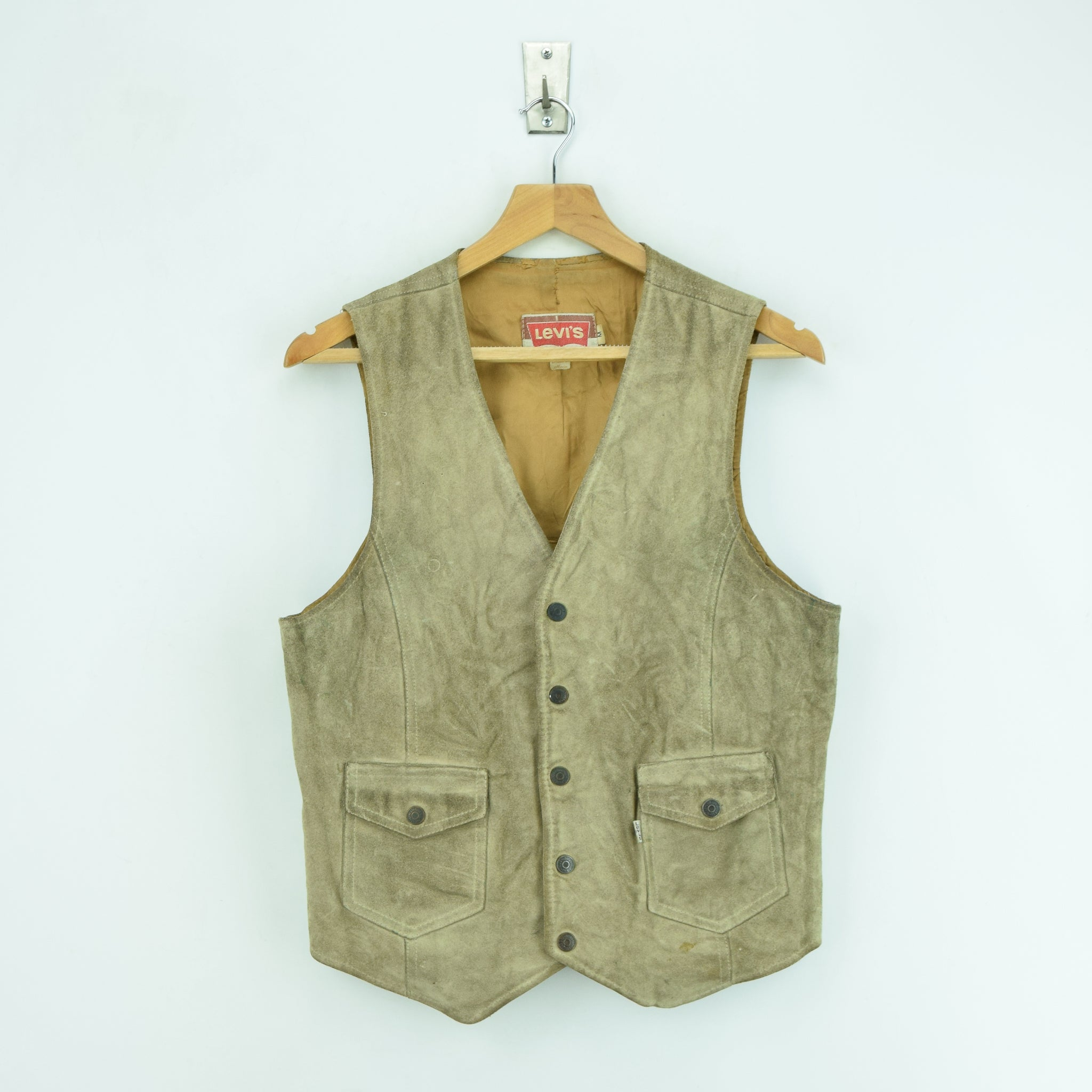 Vintage Levi White Tab Suede Leather Western Rancher Cowboy Waistcoat Vest S front