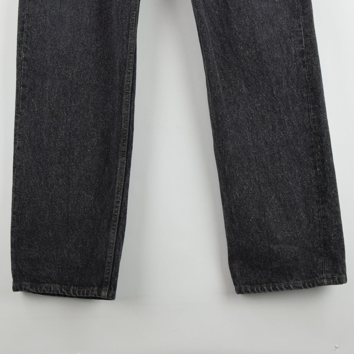 Vintage Levi Red Tab Washed Black Denim Jeans Pant Made in USA 36 W 34 L front hem