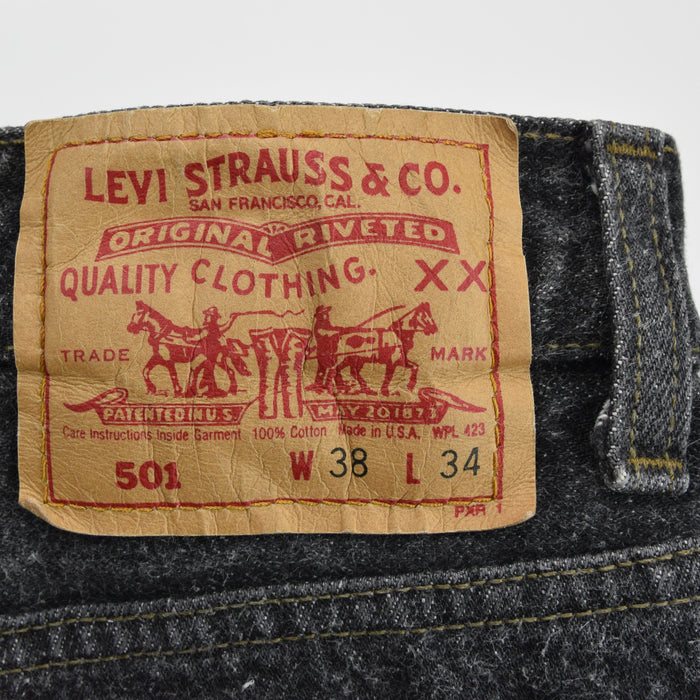 Vintage Levi Red Tab Washed Black Denim Jeans Pant Made in USA 36 W 34 L waist back label