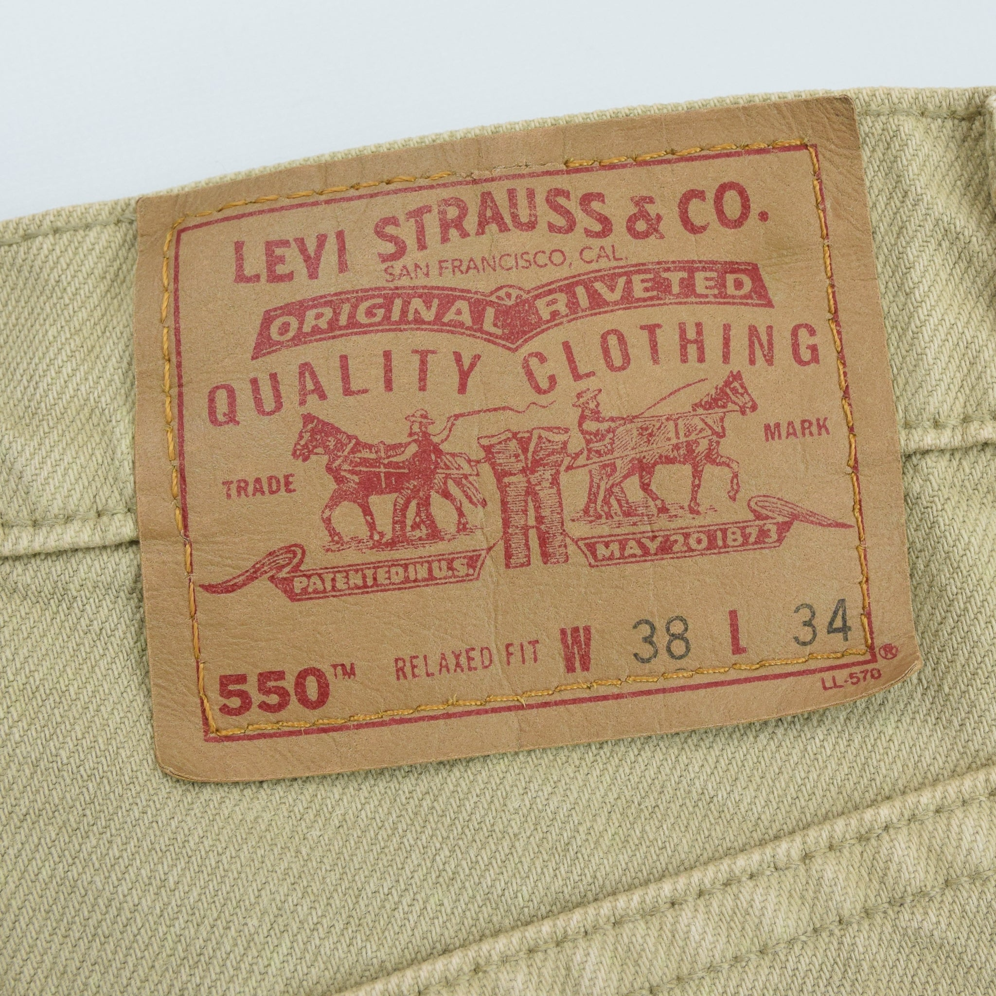 Vintage Levi Red Tab Sand Denim Jeans Made in USA 36 W 34 L tab badge back waist