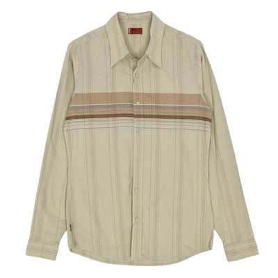 Vintage Levi Red Tab Beige Pattern Long Sleeved Cotton Western Cowboy Shirt S front