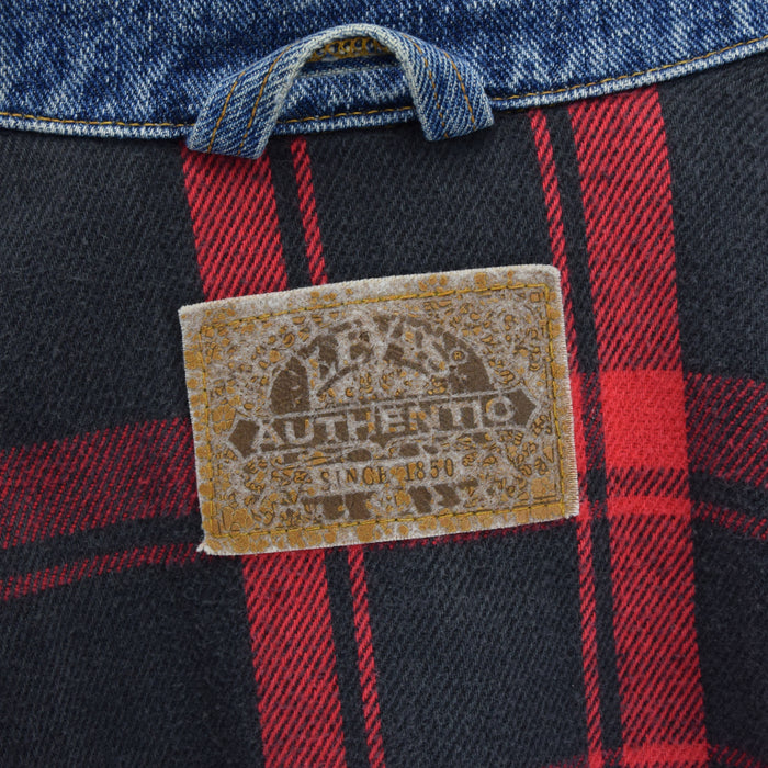 Vintage Levi Red Tab Check Lined Blue Denim Trucker Jacket USA Made XXL / XXXL label