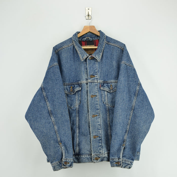 Vintage Levi Red Tab Check Lined Blue Denim Trucker Jacket USA Made XXL / XXXL front