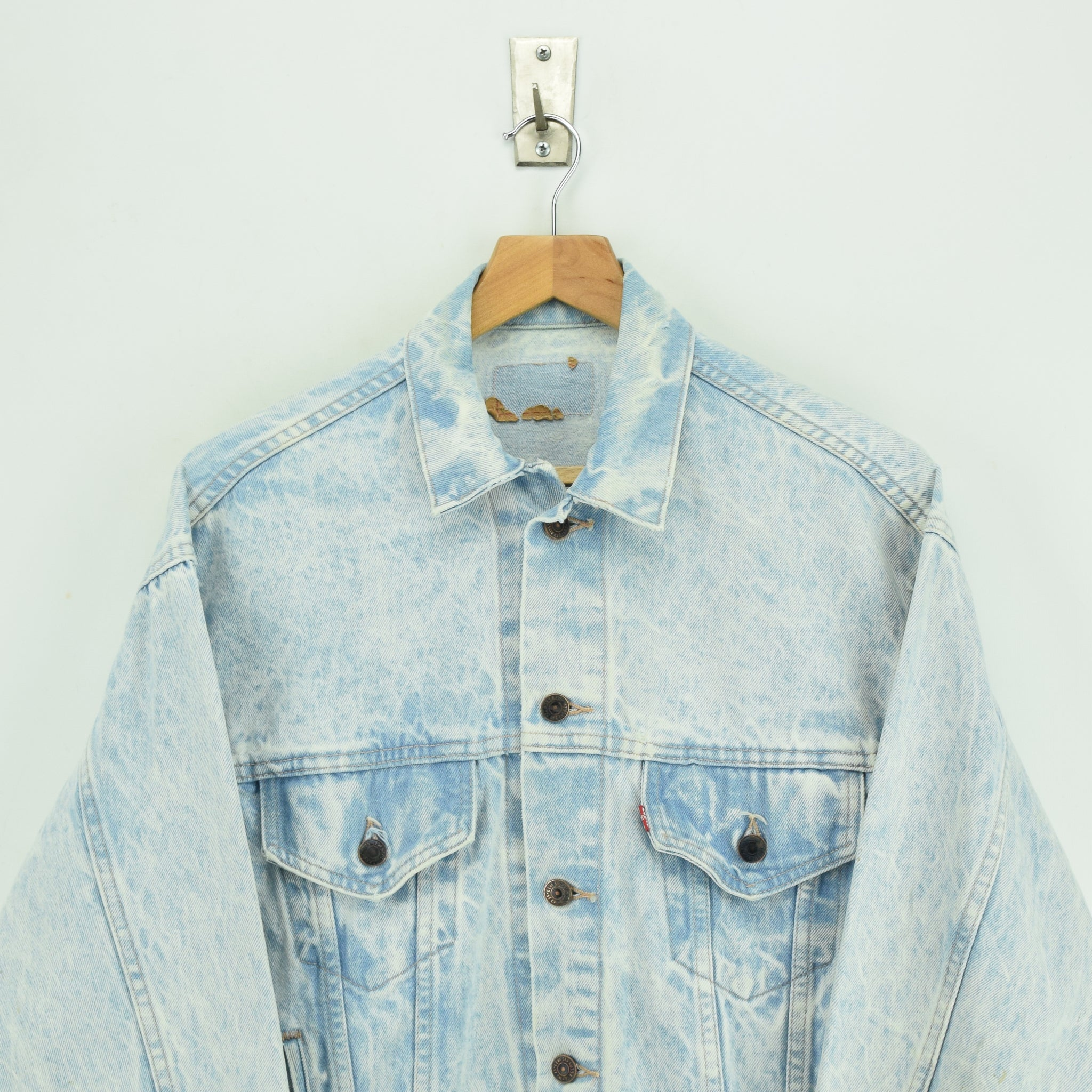 Vintage Levi Red Tab Bleached Blue Denim Trucker Jacket Made in USA S chest