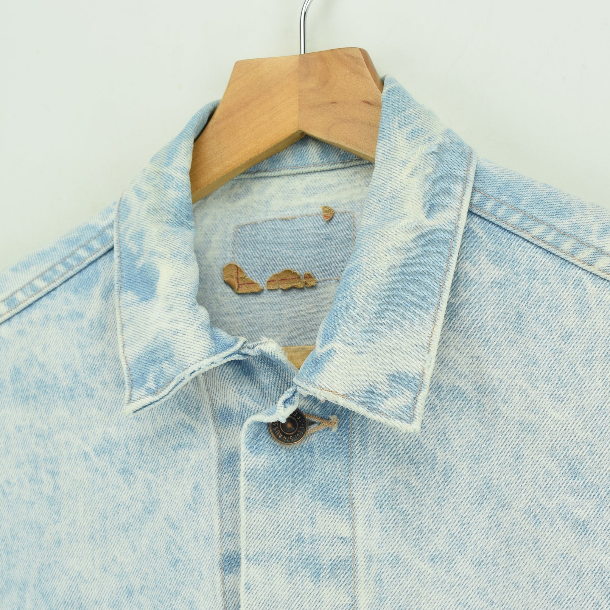 Vintage Levi Red Tab Bleached Blue Denim Trucker Jacket Made in USA S collar