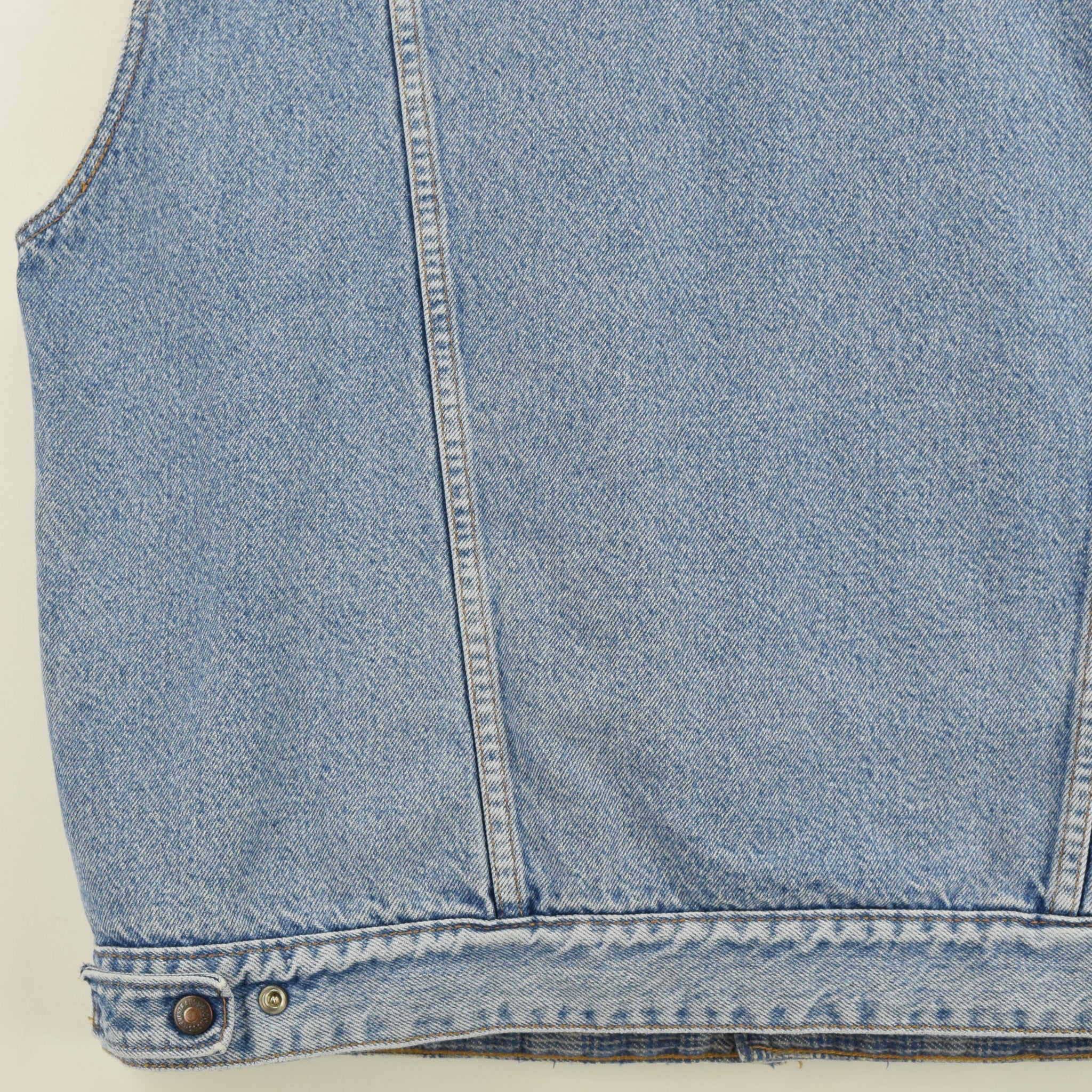 Vintage Levi Reversible Blue Denim Gilet Cord Collar Waistcoat Made in USA XL back hem