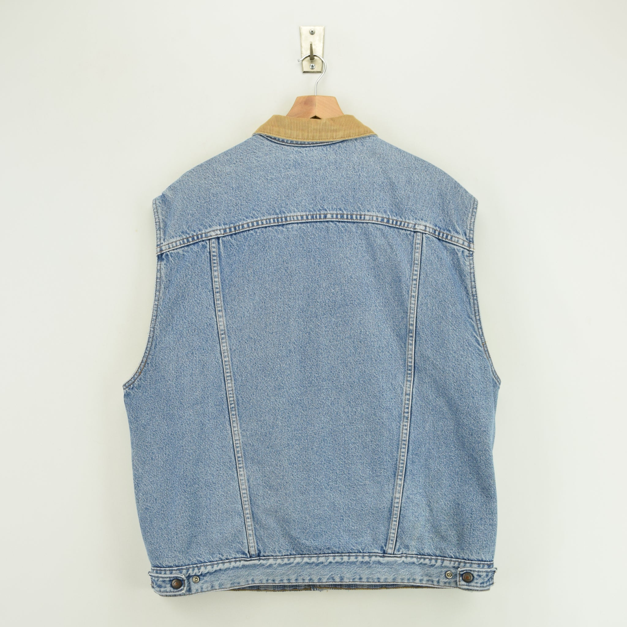 Vintage Levi Reversible Blue Denim Gilet Cord Collar Waistcoat Made in USA XL back