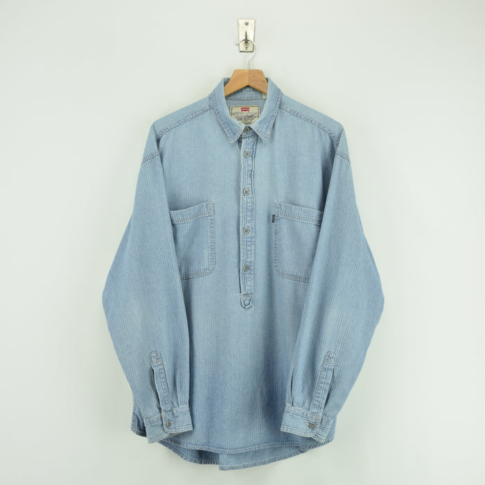 Vintage Levi Strauss Overhead Blue Cotton Pullover Long Sleeved Shirt L / XL front