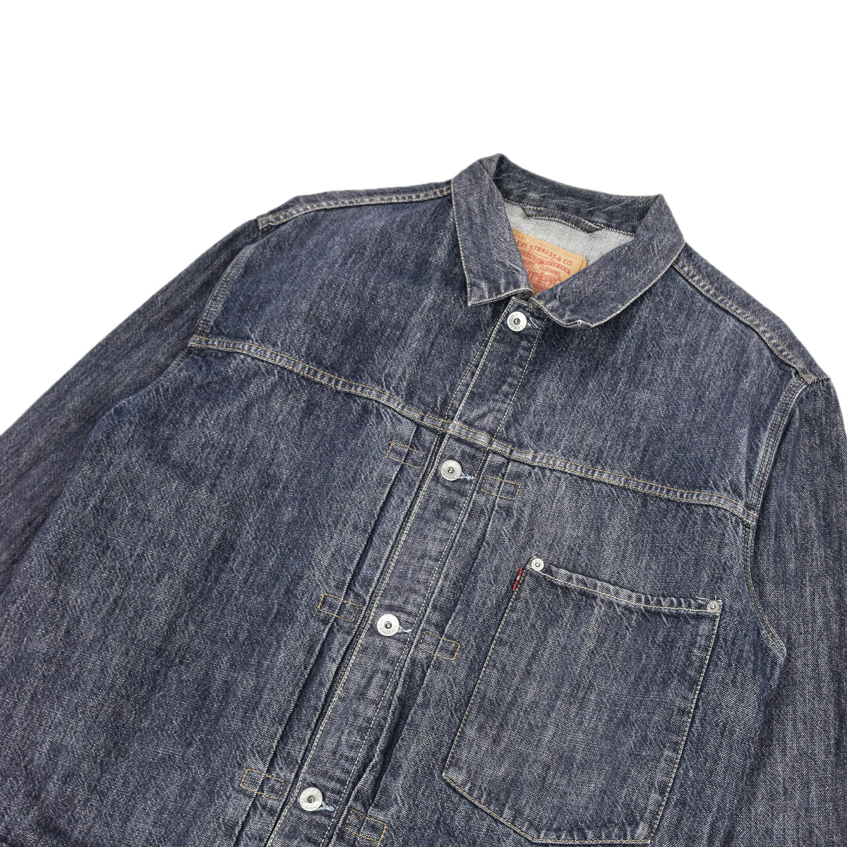 Vintage Levi Red Tab 70501 Pleated Front Blue Denim Trucker Jacket XL top pocket