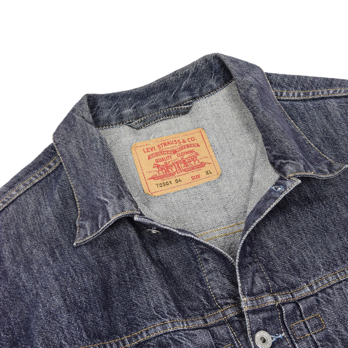 Vintage Levi Red Tab 70501 Pleated Front Blue Denim Trucker Jacket XL label