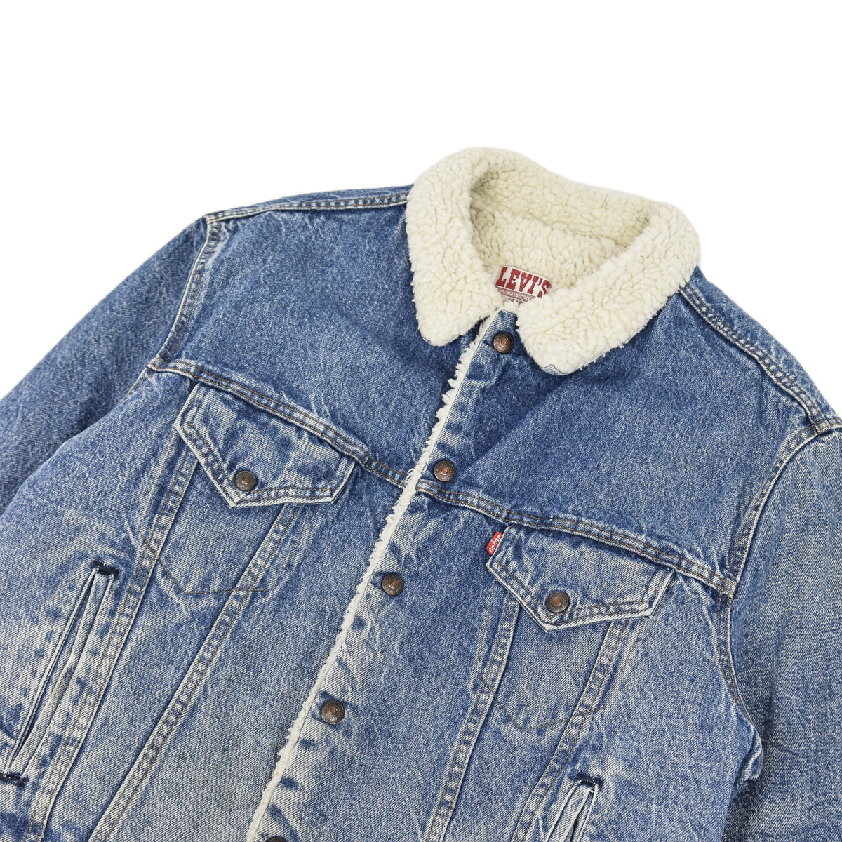 Vintage 80s Levi Blue Denim Sherpa Lined Trucker Type 3 Jacket Made in USA XL chest