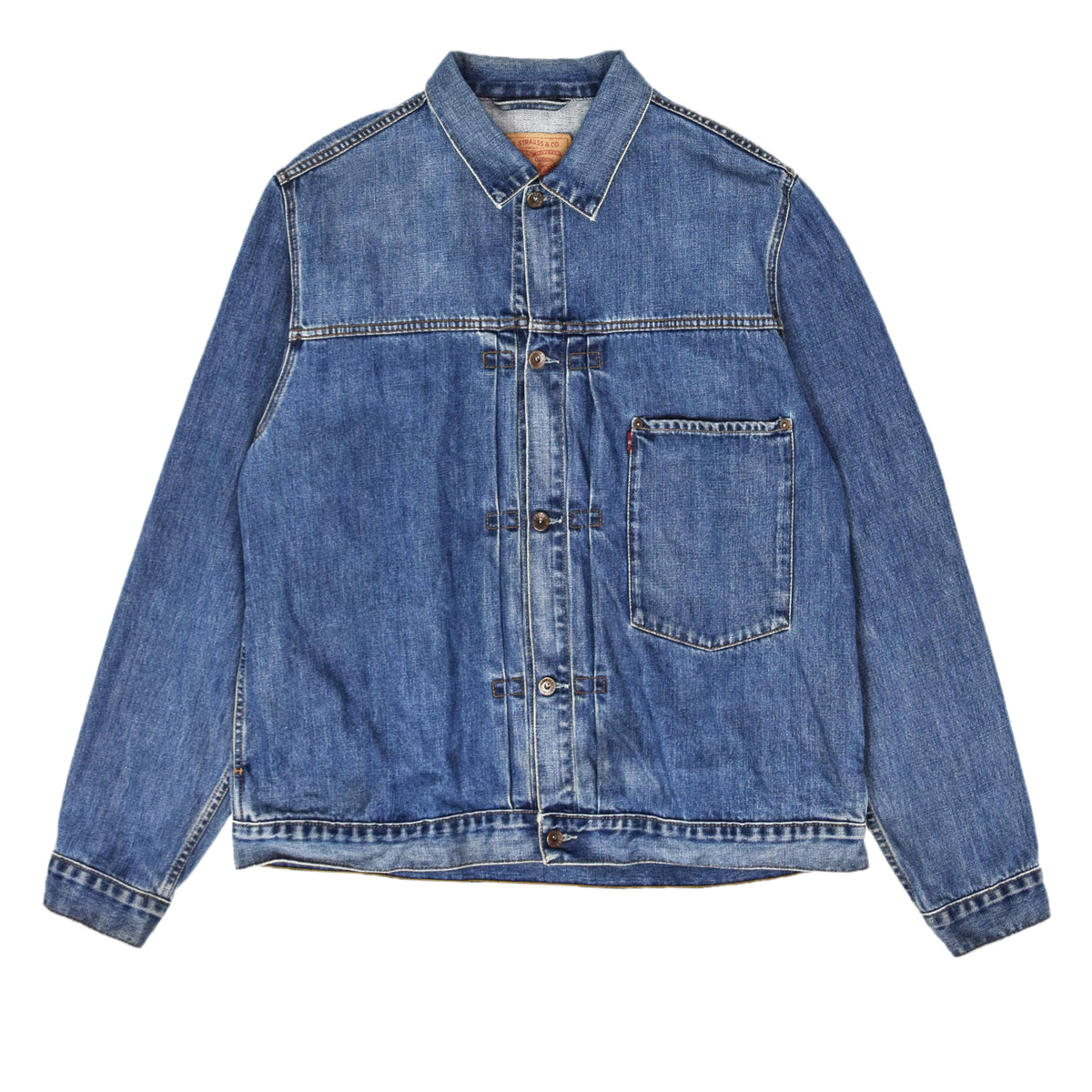 Vintage Levi Red Tab 70501 Pleated Front Stonewash Blue Denim Trucker Jacket XL  front