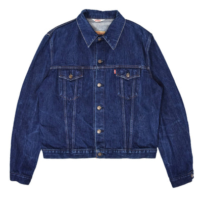 Vintage 70s Levi Red Tab Blue Denim Type 3 Trucker Jacket Made In France 46 XL front