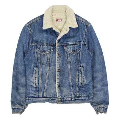 Vintage 80s Levi Blue Denim Sherpa Lined Trucker Type 3 Jacket Made in USA S / M front