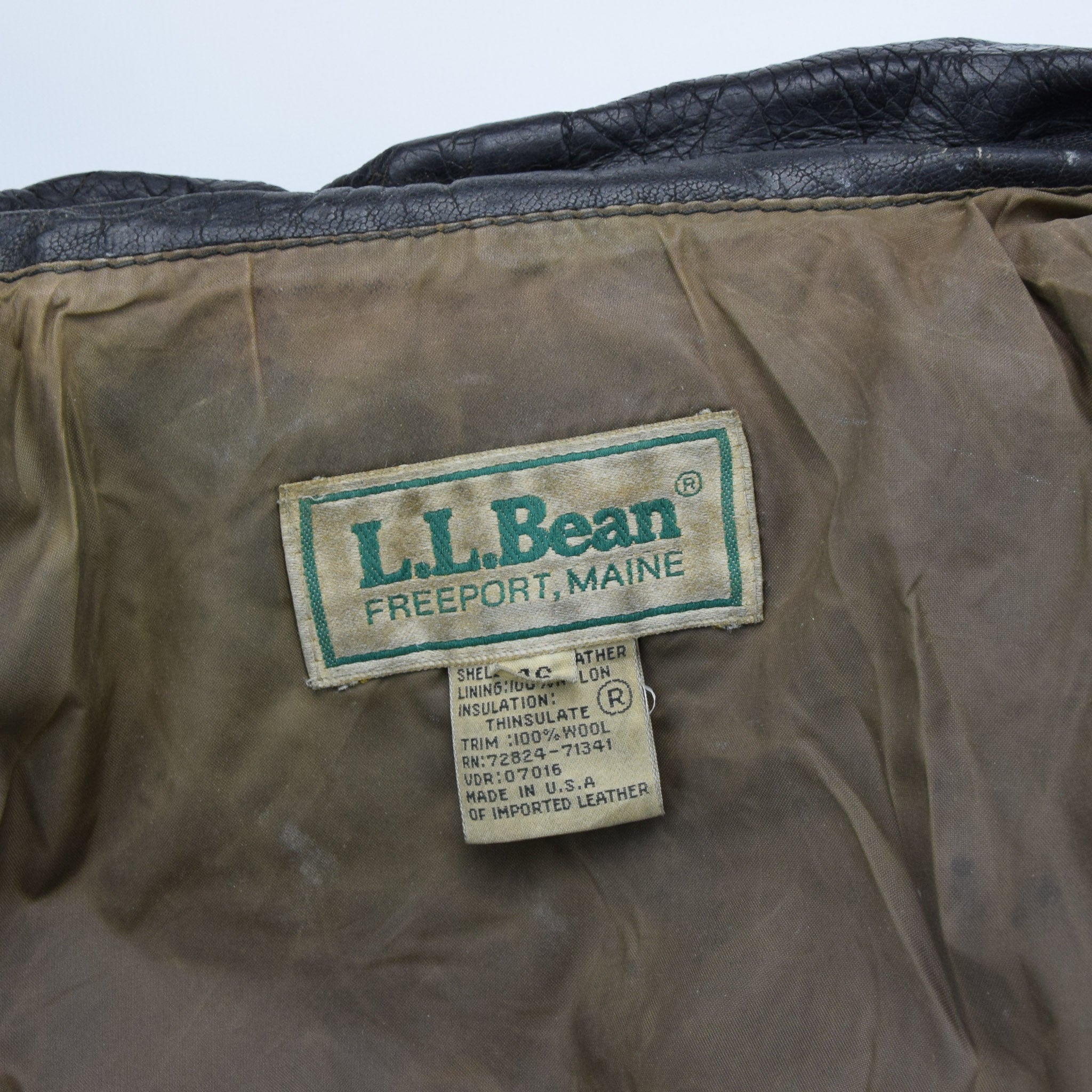 Vintage LL Bean A-2 Brown Leather Flight Bomber Jacket USA Made Talon Zip XL label