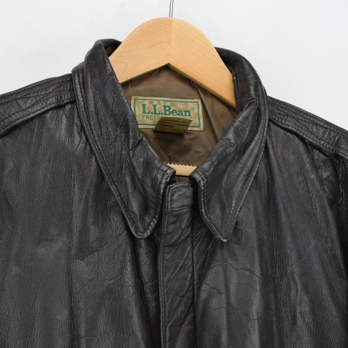 Vintage LL Bean A-2 Brown Leather Flight Bomber Jacket USA Made Talon Zip XL collar
